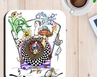 Mad Hatter Alice in Wonderland Fan Art Print Mouse Pad