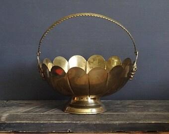 Brass Rose Bowl Basket Pedestal Bowl Scalloped Bowl Centerpiece Bowl Brass Vase Brass Basket Wedding