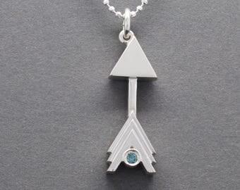 Sagittarius Arrow Pendant with Blue Diamond