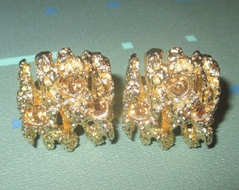 Vintage Swank Gold Tone and Rhinestone Mid Century Abstract Design Cuff Links