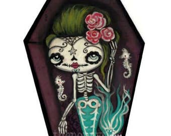 Sugar skull Mermaid hand painted art on Cedarwood, Cute Coffin original painting 3 x 5