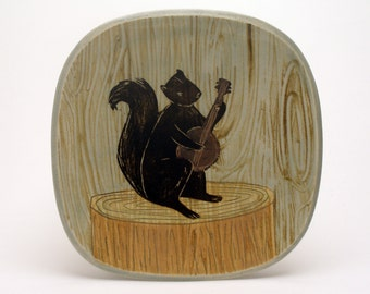 Squirrel Band- Banjo- small square plate-Ruchika Madan