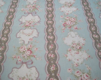 Yuwa Live Life Collection Fabric Japan Mushroom pink Ivory on Pale Blue 7/8 Yard x 44""