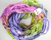 Silk Sari Ribbon, Sari Ribbon, Purple sari ribbon, pink ribbon, Green silk Sari Ribbon, Easter sari ribbon, weaving supply