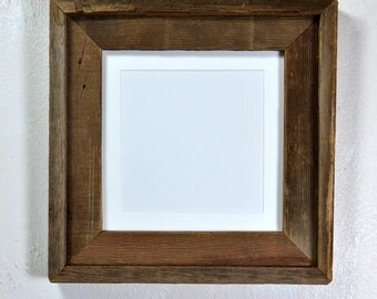 Rustic wood picture frame 8x8 with mat for 5x5 or 6x6 a cute little frame 20 mat colors to choose from free US shipping