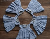 Hand Dyed Melacacia Angel dress in Stormy Blue ~ for Blythe