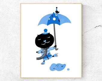 Nursery Print, Kids Poster, Children Illustration, Cat Illustration, Instant Download, Kids Nursery Decor, Rain, Digital Art - Let it Rain