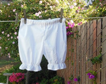 Ready now!  Toddler Bloomers White Cotton Simple Basic No Lace
