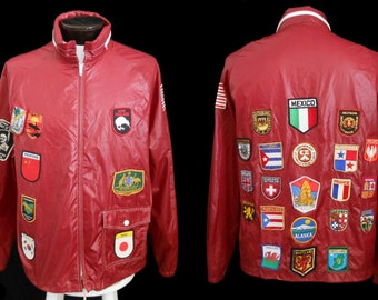 Vintage 60s 70s Souvenir Travel Patch Jacket USA & Foreign  Windbreaker Burgundy Red with 31 Patches, Size Large