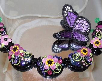 Purple Floral beads. Moonwalk beads.