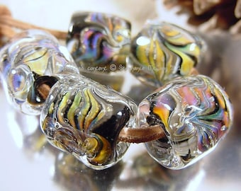 Handmade lampwork glass beads, Artisan glass beads, black beads, green beads, purple beads, blue beads, gold beads, barrel beads,  SRA