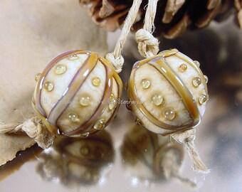 Handmade lampwork glass bead pair, Artisan glass beads, gold beads, amber beads, matte finish beads, ivory beads, earring bead pair, SRA