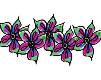 Flower Rainbow Machine Embroidery Design by Letzrock  3103