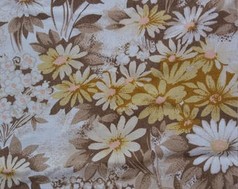 Vintage 1960s 1970s retro yellow floral cotton sheet fabric  - Campervan decor
