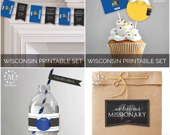 INSTANT DOWNLOAD - WISCONSIN -  Missionary Farewell Welcome Home Decoration Printable Set for Sisters