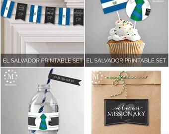 INSTANT DOWNLOAD - El Salvador -  Missionary Farewell Welcome Home Decoration Printable Set for Elders
