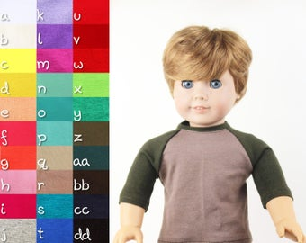 American Boy Doll Clothes - The Baseball Raglan Tee, You Choose Colors, Fits like American Girl Doll Clothes