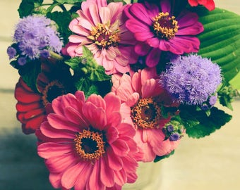 Rustic Flower Photograph - Summer Bouquet Print - Pink Blue Green - Cottage Chic Decor - Floral Art Print - Zinnia - Bedroom Wall Art