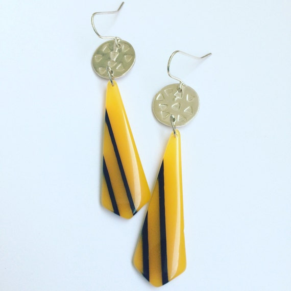 Canary Yellow Acrylic and Sterling Silver Earrings - Upcycled - Vintage - Retro - Hipster