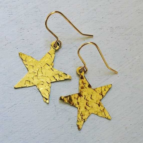 Raw Brass Hammered Star Earrings - Gold - Dangle - Drop - Festival - Gift
