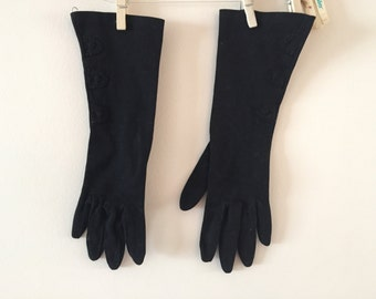Black gloves Vintage 1950s