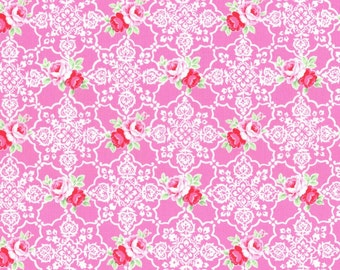 Pink Rose Lace Tile 31377 20 Fabric by Lecien Flower Sugar Sweet Carnival