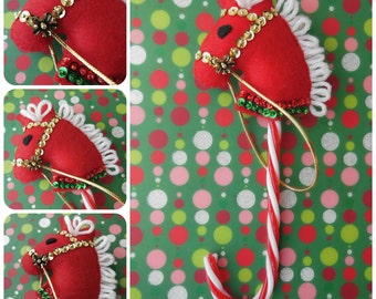 Candy Cane Horse - Red Green or Gold - Felt Christmas Ornament - Vintage Reproduction