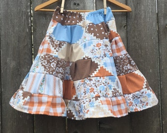 Ready to Ship --- 6 Tiered Girls Skirt - Vintage Fabric