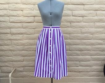 Vintage 80s Purple White Striped Midi Skirt Button Front Sz 8