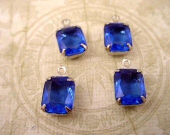 4 Vintage glass Capri Blue Octagon charms 10x8 SILVER open back 1 ring