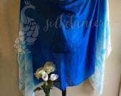Rectangular belly dance silk veil Wadj-wer  design -  3 yards long - VERTICAL pattern
