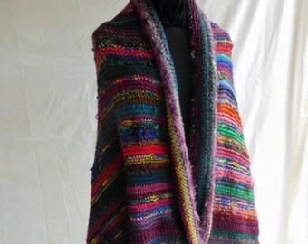 One of A Kind Rainbow Wool Handnit Shawl