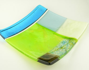 Bright Colorful Square Fused Glass Sushi Plate Dish in Turquoise Blue Lavender Lime Green Brown Ivory