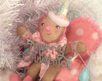 Gingerbread man centerpiece merry Christmas pink and blue holiday candy theme christmas gingerbread boy doll vintage inspired
