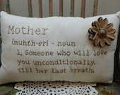 Mother's Day Pillow, Hand Stitched Mother Definition Pillow, Mom, Burlap Alphabet, Burlap Lace Flower,