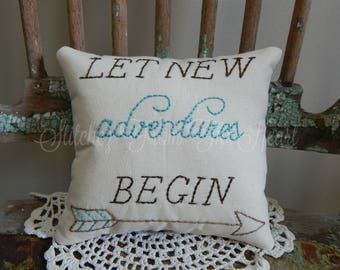 Decorative, Hand Stitched, Pillow, Let New Adventures Begin, Travel