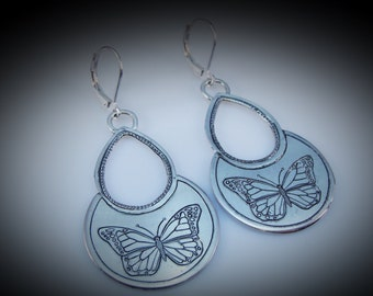 Hand Engraved Butterflies In Sterling Silver Dangles