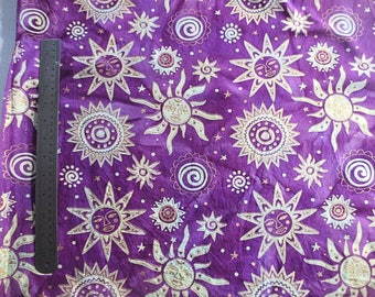 Indian Purple batik metallic gold Odyssey suns cotton fabric on sale great abstract zodiac zen style quilting sewing fabric 1.39 yards