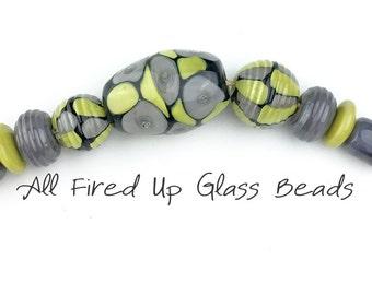 Grey and Green Lampwork Glass Bead Set Barrels Discs Focal Ribbed Encased Donuts Necklace Bracelet  9 Beads SRA