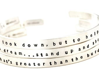 BROTHER SUN Lyric Bracelets - Sterling Silver Cuff Bracelets - Song Lyric Art - Unitarian - Brother Sun Sister Moon - Free Shipping