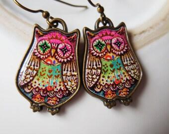Cute owls Owls earrings Owls jewelry Bird earrings Owls gifts Owl lover Owl earrings Owl dangle earrings Turquoise pink green owl earrings