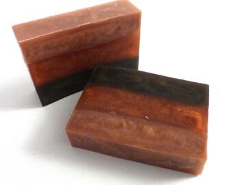 Pumpkin Caramel Latte Handmade Glycerin Soap Bar - REMNANT Slice - Vegan, SLS Free