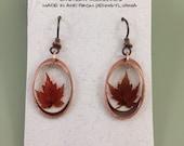 Red maple leaf earrings