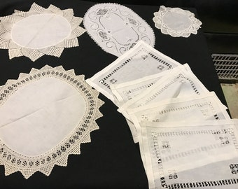 Lot of 9 Vintage Off White Cutwork and Drawnwork Embroidery Doilies & Runners