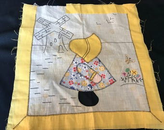 Vintage Sunbonnet Sue Quilt Block Set in Yellow (Great for Pillow Front)