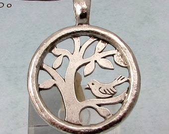 Bird In A Tree Of Life Pendant, Antique Pewter AP104