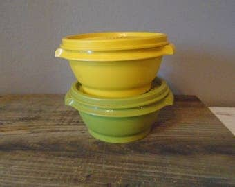 2 small vintage Tupperware Servalier storage containers in yellow & avacado green / small leftover containers /  hard plastic leftover bowls