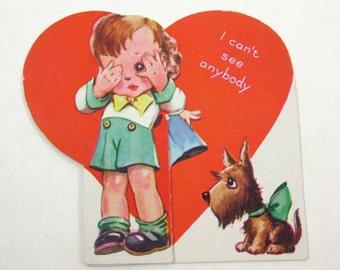 Vintage 1940s Children's Novelty Valentine Card with Boy Girl and Scotty or Scottie Dog