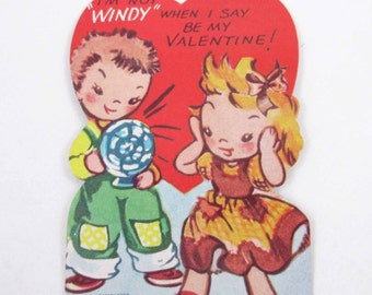 Vintage Unused Children's Novelty Valentine Greeting Card with Cute Little Girl and Boy with Electric Fan