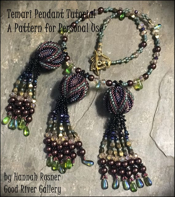 JUST UPDATED Beading Pattern Temari Ball Bead Woven Peyote Stitch Pendant or Necklace tutorial instructions by Hannah Rosner